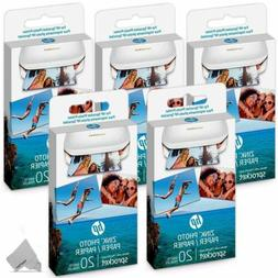 5 Pack of 20 HP Sprocket Photo Paper, 100 Sheets, f/ HP Spro